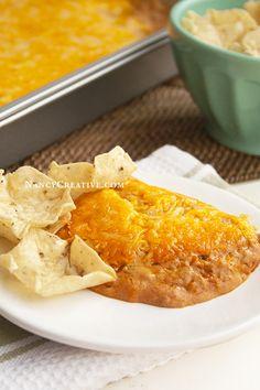 Texas Trash Warm Bean Dip–a super-cheesy dip that's hard to stop eating!