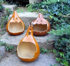 Halloween Ghost Carved Gourd Candy Dispenser - as seen in the Etsy Finds 10/3/12 Email. $20.00, via Etsy.