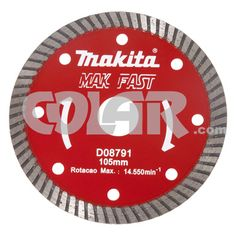 Disco Para Serra Mármore D08791Turbo - Makita Mak Fast Disco Diamantado Turbo.   Medidas: Diâmetro 105 MM   Furo: 20 MM   Aplicação: Mármore e Granito, refrigeração a seco.  www.colar.com