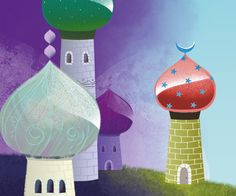 towers, thousand and one nights, illustration for kids, adobe photoshop