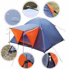 3 persona tienda de campana impermeable doble capa de acampar al aire libre OP2845