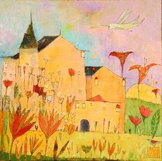 Chateau Fantastique 31.5x31.5 acrylic on canvas   Tyndall Galleries, Chapel Hill, NC   Jane Filer