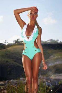 ecbb942a98b Ruffled Sailor One Piece Swimsuit - Seafoam Mint Green Monokini Yellow  Bandeau Tops, Bandeau Bikini