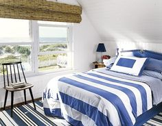 Beach House Makeover - Country Living - love the blue headboard and the beadboard on the walls and ceiling
