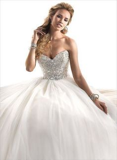 New Sweetheart Shine Rhinestone and Beads Tulle Wedding Dresses Ball Gown Custom