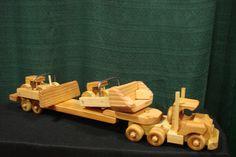 Wooden Toy Semi Truck, Lowboy Trailer, Front Loader & Bull Dozer