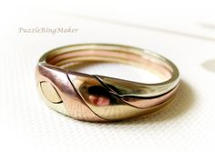 BECK TriGOLD  Unique Puzzle Rings by by PuzzleRingMaker on Etsy, $366.00