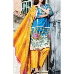 Blue Printed Cambric Dress Contact: (702) 751-3523 Email: info@pakrobe.com Skype: PakRobe