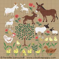 Mother and baby animals (large pattern)cross stitch patternby Perrette Samouiloff Cross Stitch Bird, Cross Stitch Animals, Cross Stitch Flowers, Counted Cross Stitch Patterns, Cross Stitch Charts, Cross Stitch Designs, Cross Stitching, Mother And Baby Animals, Baby Farm Animals