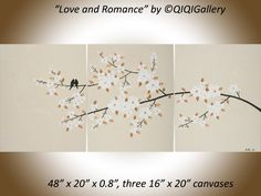 "original acrylic painting 48"" abstract landscape Painting love birds flower tree canvas art office wall art wedding gift by QiQigallery by QiQiGallery on Etsy"