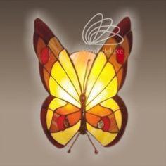 Lampa witrażowa Farfalla Ambra S131-2