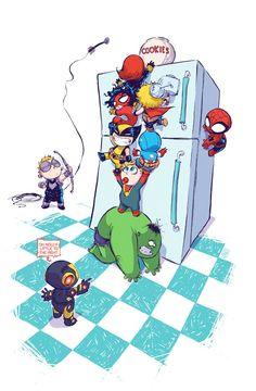 Marvel has released a selection of variant covers for some of their upcoming NOW! series', although a fun cover by Skottie Young may reveal some of the heroes who will make up the roster of Jonathan Hickman's New Avengers. Baby Avengers, The Avengers, Baby Marvel, Young Avengers, Marvel Kids, Baby Spiderman, Baby Superhero, Avengers Superheroes, Avengers Cartoon
