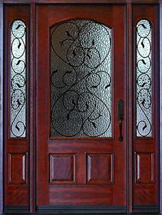 Pre finished Mahogany Fiberglass Double Doors Texas Star 60