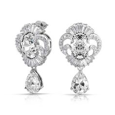 Bling Jewelry CZ Teardrop Vintage Style Estate Style Jewelry Style Earrings Rhodium Plated