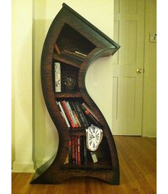 Man, I love these!!    Handmade 4ft Curved Bookshelf Oak Stained/Blk $525.00