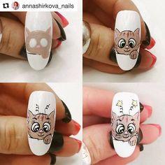 Animal Nail Art, Grafiti, Manicure, Nails, Beautiful Nail Art, Cat Design, Nail Arts, Nail Art Designs, Beauty