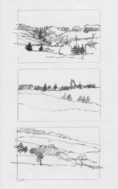 Landscape Sketches by Charlie Brown, via Behance Landscape Sketch, Landscape Drawings, Landscape Art, Watercolor Landscape, Landscape Paintings, Drawing Sketches, Pencil Drawings, Art Drawings, Thumbnail Sketches