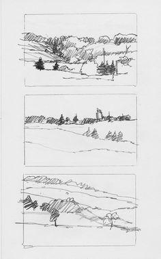 Landscape Sketches by Charlie Brown, via Behance