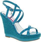 turquoise wedge heels