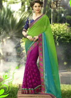 Saree Parrot Green color