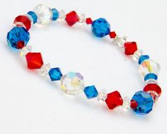 Items similar to Red White and Blue Bracelet Patriot Jewelry Fourth of July Bracelet Patriotic Bracelet with Swarovski® Crystal, July Bracelet on Etsy Swarovski Bracelet, Swarovski Pearls, Crystal Bracelets, Jewelry Tags, Beaded Jewelry, Unique Jewelry, Jewelry Ideas, Large Crystals, Blue Crystals