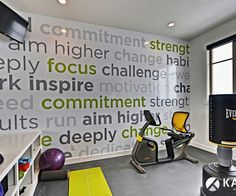 Kade always wanted this for out gym room ... But we JUST turned it into a nursary lol someday! Home gym. Words on wall
