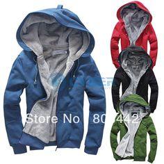 New Men's Plush Thick Warm Hoodie Overcoat Winter Coat Fleece & Men's Cotton Padded Jacket Men Jackets  6colors 4sizes 17015 $25.97 - 27.52