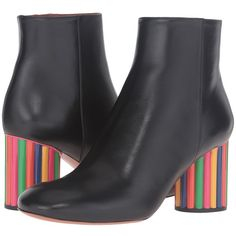Missoni Color Block Ankle Boot (Nero) Women's Maryjane Shoes (€845) ❤ liked on Polyvore featuring shoes, boots, ankle booties, mid-calf boots, block-heel ankle boots, leather ankle boots, mid calf boots, chunky heel booties and chunky heel bootie