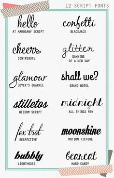 Script fonts are usefu for invitations, scrapbooing, notes, and for fun. Here are twelve (free) script fonts — Dinosaur Stew. Fancy Fonts, Cool Fonts, Pretty Fonts, Web Design, Graphic Design, Plan Design, Type Design, Design Ideas, Logo Design