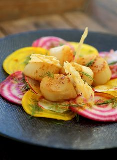 Raw beetroot salad st Jacques shells