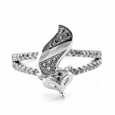 100% Real 925 Sterling Silver Cubic Zirconia Fire Fox Queen Animal Ring For Women 2014 New Fashion Design Jewelry Birthday Gifts
