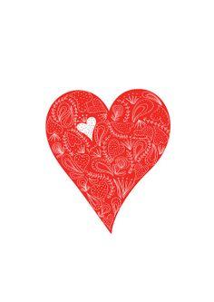in Love Art Print  Heart illustration Flower Pattern Red Art Valentine's gift Wedding Anniversary by dekanimal on Etsy, $15.00