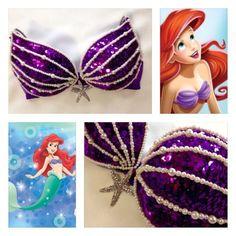 The Little Mermaid Bra Burlesque Costumes, Diy Costumes, Dance Costumes, Halloween Costumes, Mermaid Bra, Mermaid Tails, Mermaid Makeup, Halloween Karneval, Diy Bra