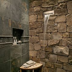 Rustic Bathroom Design with #stone and #tile