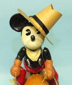 1930′s JAPAN MICKEY MOUSE COWBOY ON PLUTO CELLULOID WIND UP TOY
