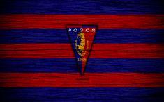 Download wallpapers Pogon Szczecin, 4k, Ekstraklasa, wooden texture, football, Poland, Pogon Szczecin FC, soccer, football club, FC Pogon Szczecin