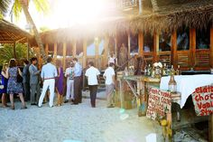 Beach wedding at @L a Zebra, Tulum cocktail hour on the beach. Fresh crushed sugar cane mojitos? Yes please!  Mexico wedding photographers Del Sol Photography