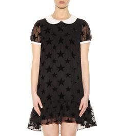 Black and white fil coupé dress