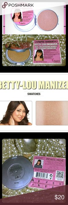 The Balm Betty Lou-Manizer Bronzer/Highlight Fake it, don?t bake it! Before you head out to relish some well deserved sun, score a faux, sun-kissed glow with the Balm?s Betty-Lou Manizer. Betty-Lou is a silky smooth, all-in-one bronzing highlighter, shimmer and shadow.  Bronzer/Shadow/Body Shimmer/Highlight for deeper tones!  New in box (my knuckle accidentally and very lightly touched the product when photographing, see pic 2. Product is guaranteed brand new and unused). The Balm Makeup…