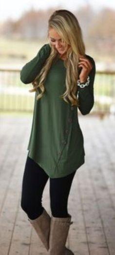fall  outfits women s green dress shirt Green Outfits For Women 9eb5501363