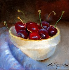 Cherries in a Bowl with a Blue Cloth 6 x6 Original Oil panel HALL GROAT II, painting by artist Hall Groat II