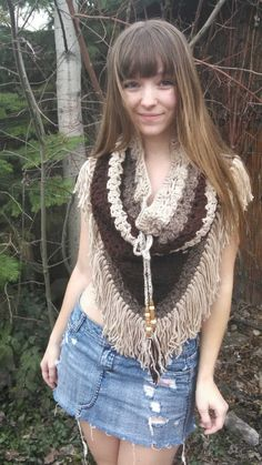 Tribal pullover, crochet poncho, Native American, crochet Skirt, crochet scarf, crochet cowl,festive, , fringe poncho, earth tone. by WindWear on Etsy