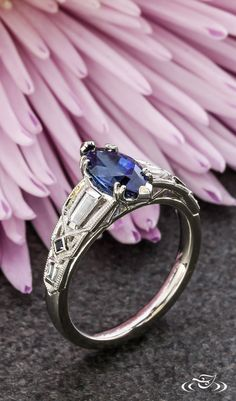 Architectural Art Deco and Sapphire Engagement Ring #GreenLakeJewelry