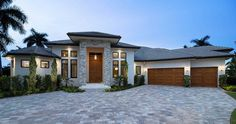 High End Florida House Plan - 66379WE | 1st Floor Master Suite, Butler Walk-in Pantry, Contemporary, Den-Office-Library-Study, Florida, Luxury, MBR Sitting Area, Photo Gallery, Premium Collection, Split Bedrooms | Architectural Designs