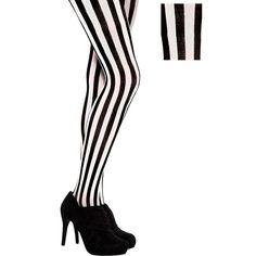 b602050ece6 Adult Vertical Black   White Striped Tights