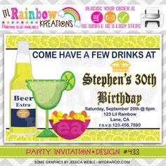 383 DIY Margaritas And Beer Party Invitation by LilRbwKreations