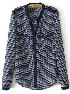 Blusa geométrico bolsillos manga larga-AZUL EUR€19.17