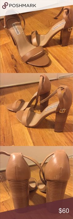 """Camel Color Steve Madden Summer Heel Camel Color Steve Madden Summer Heel. Leather. Chunky wooden natural color heel. 4"""" wrapped block Carrson Heel. Worn once! Twice if in the house counts. Make an offer! Steve Madden Shoes Heels"""