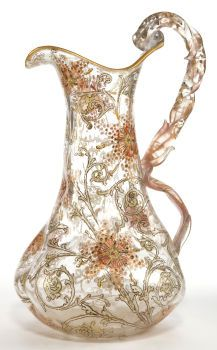 Art Glass:Other , AN ITALIAN GLASS PITCHER . Maker unknown, Naples, Italy, circa1900. Marks: NAPOLI, 848. 13-1/2 inches high (34.3 cm). ...