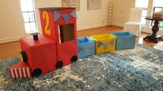 train for my son's birthday! Made from boxes and craft paper. Chugga chugga two-two!DIY train for my son's birthday! Made from boxes and craft paper. Chugga chugga two-two! Thomas Birthday, Trains Birthday Party, Train Party, 3rd Birthday Parties, Chuggington Birthday, Pirate Party, Second Birthday Ideas, Third Birthday, Boy Birthday